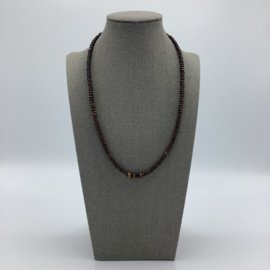 Tiger Eye Men Necklace Decorated with Hematite