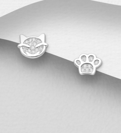 925 Sterling Silver Cat and Paw Push-Back Earrings, Decorated with CZ Simulated Diamonds