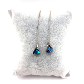 Triangle Swarovski With 925 Sterling Silver Thread Earring