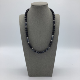 Obsidian Men Necklace Decorated with Snowflake Obsidian