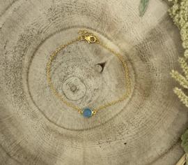 Blue Chalzedone Gold Plated Bracelet