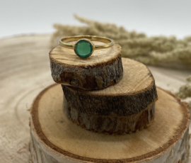 Green Onyx Gold Plated Ring