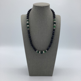Agate Necklace For Men Decorated with Hematite