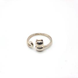 925 Sterling Silver Cat Adjustable Ring