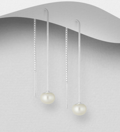 925 Sterling Silver Threader Earrings Decorated with Freshwater Pearls
