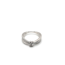925 Sterling Silver Ring Decorated with CZ Simulated Diamonds, Plated with Rhodium