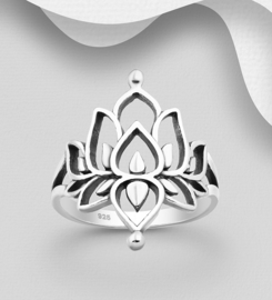 925 Sterling Silver Oxidized Lotus Ring