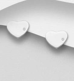 925 Sterling Silver Heart Push-Back Earrings Decorated with CZ Simulated Diamonds