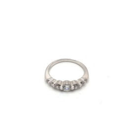 925 Sterling Silver Ring Decorated with CZ Simulated Diamonds, Rhodium Plated.