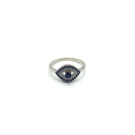 925 Sterling Silver Evil Eye Ring Decorated with CZ Simulated Diamonds, Plated with Rhodium