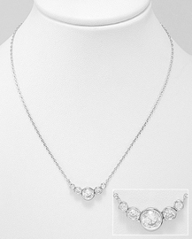 925 Sterling Silver Necklace Decorated with CZ Simulated Diamonds, Plated with Rhodium