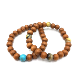 Wood Bracelet single Gem