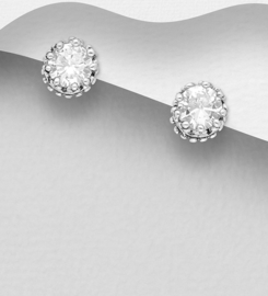 925 Sterling Silver Push-Back Stud Earrings Decorated with CZ Simulated Diamonds
