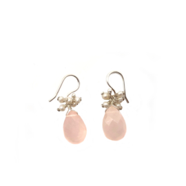 925 Sterling Silver Hook Earring Decorated with Rose Quartz