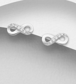 925 Sterling Silver Infinity Push-Back Earrings Decorated with CZ Simulated Diamonds