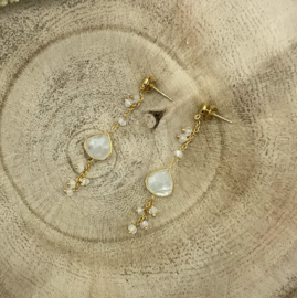 Moonstone Gold Plated Earring
