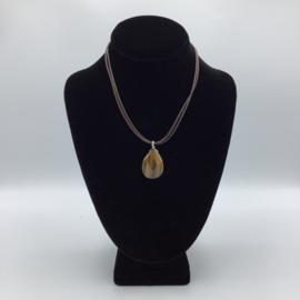 Ravishing Single Stone Tiger Eye Necklace - Leather Collection