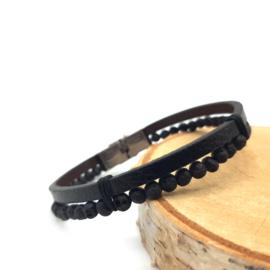 Leather Bracelet Beaded With Lava stone