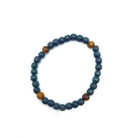 Tiger Eye and blue wood bracelet (not finished)