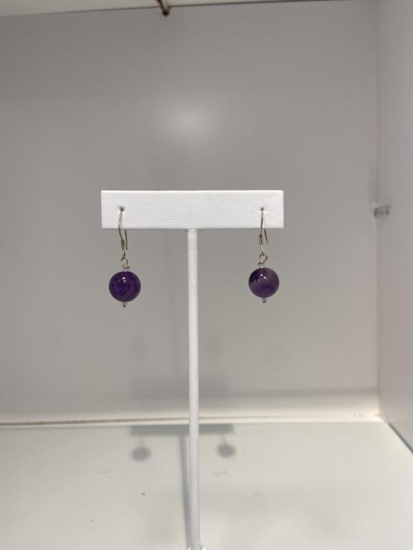 925 Sterling Silver Amethyst Ball Earrings