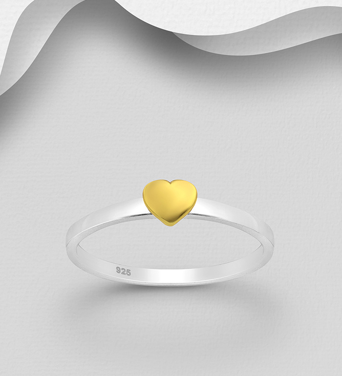 925 Sterling Silver Heart Ring Band, Heart Plated with 1 Micron 18K Yellow Gold