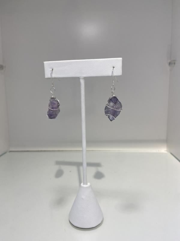 925 Sterling Silver Amethyst Ore Earrings