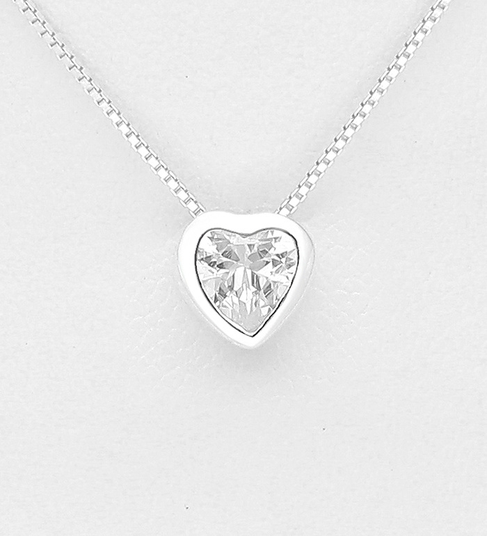 925 Sterling Silver Heart Necklace Decorated with CZ Simulated Diamond