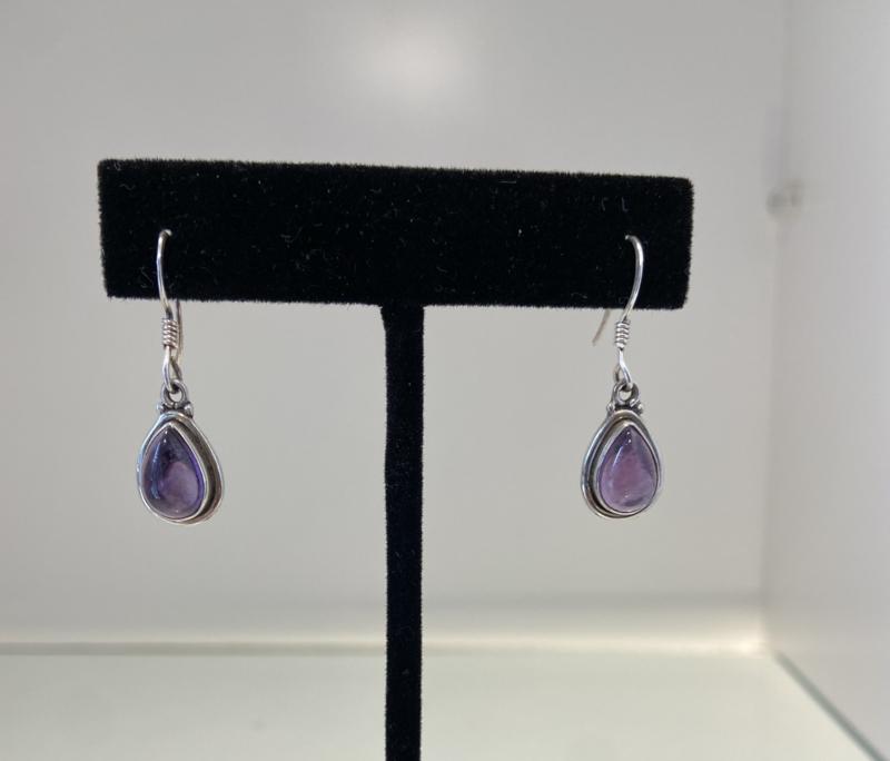 925 Sterling Silver Amethyst Tears Earrings