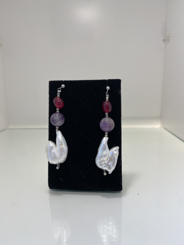 925 Sterling Silver Freshwater Pearl and Mixed Gemstone Earrings