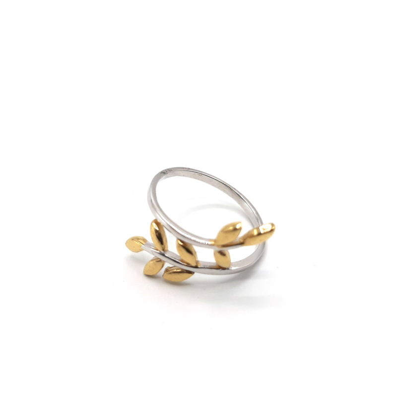 925 Sterling Silver Leaf Ring, Plated with 1 Micron 14K or 18K Yellow Gold