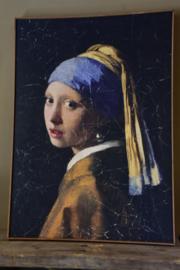 Wanddoek  in lijst meisje met de parel