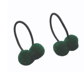 Haar elastiekjes met pompon groen