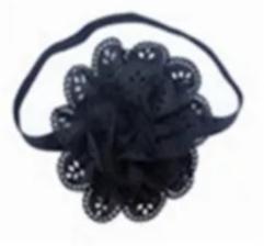 Haarband zwart met grote bloem