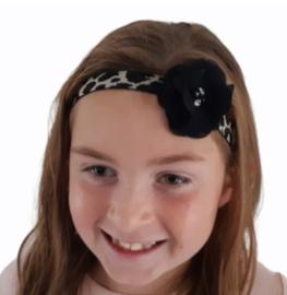 Haarband Leopard met zwarte luxe bloem
