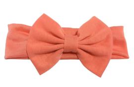 Haarband zalm roze met grote strik 17 cm