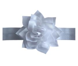 Haarband wit met grote bloem