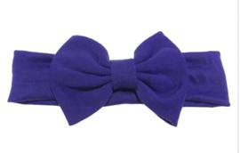 Haarband paars blauw met grote strik 17 cm