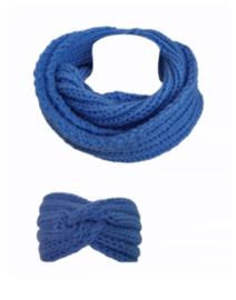 Colsjaal blauw met winter haarband