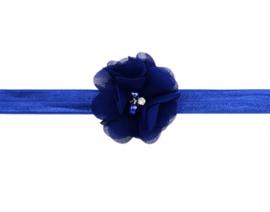 Haarband blauw met luxe bloem