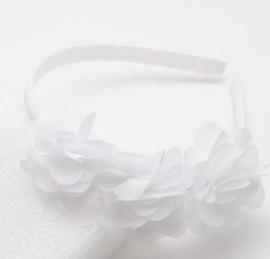 Diadeem wit 3 bloemen