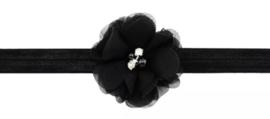 Haarband zwart met luxe bloem
