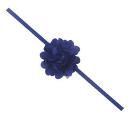 Haarband donker blauw met bloem