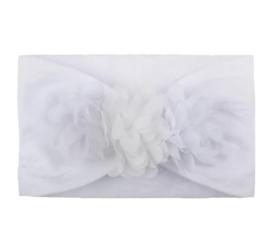 Haarband wit met bloemen