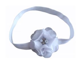 Haarband wit met luxe bloem