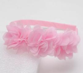 Diadeem roze 3 bloemen