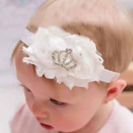 Haarband wit met kroontje Prinses
