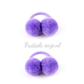 Haar elastiekjes met pompon paars