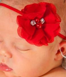 Haarband rood luxe bloem