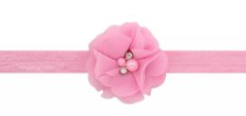 Haarband roze met luxe bloem