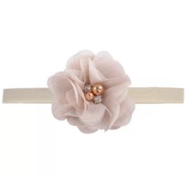 Haarband luxe bloem zandkleur